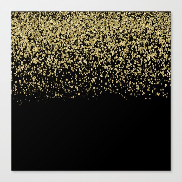 Sparkling gold glitter confetti on black background- Luxury pattern Canvas Print