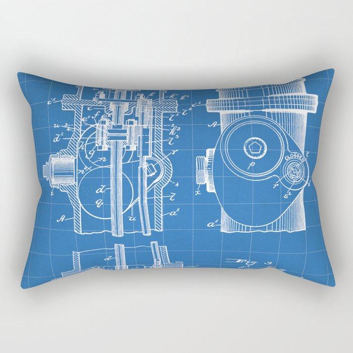 Fire Fighter Patent - Fire Hydrant Art - Blueprint Rectangular Pillow
