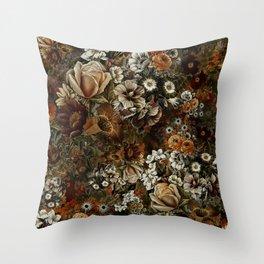 Night Garden Gold Throw Pillow