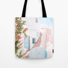 Santorini Greece Mamma Mia pink-peach-white travel photography in hd. Tote Bag