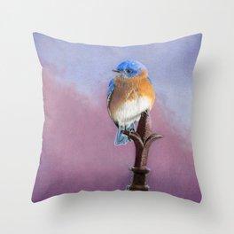 Backyard Bluebird Throw Pillow