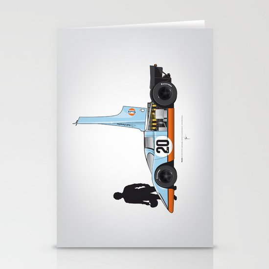 Outline Series N.º4, Steve McQueen, Porsche 917, Le Mans movie 1971 Stationery Cards