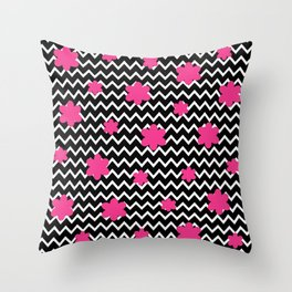 Black Chevron and Hot Pink Flowers Throw Pillow