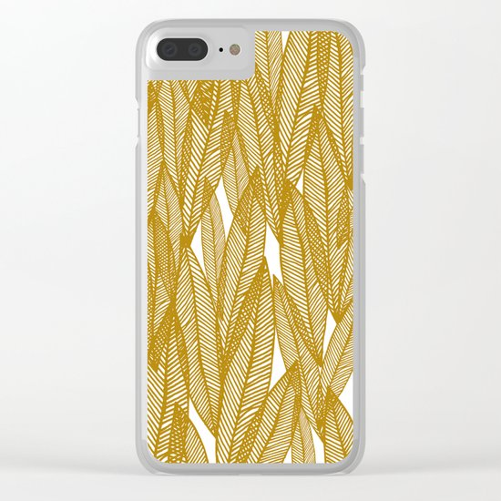 Golden Yellow Leaves Clear iPhone Case