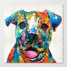 Colorful Dog Pit Bull Art - Happy - By Sharon Cummings Canvas Print