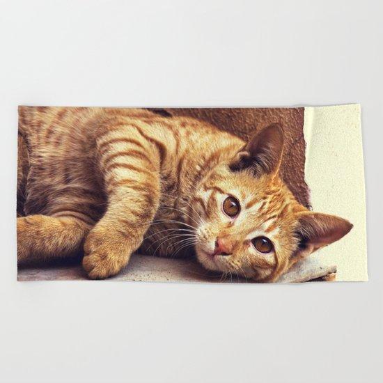 Cat roux Beach Towel