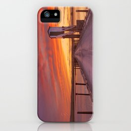 Holy Island of Lindisfarne, England causeway and refuge hut, sunset iPhone Case