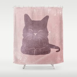 Happy purple cat illustration on pink for girls Shower Curtain