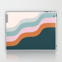 Abstract Diagonal Waves in Teal, Terracotta, and Pink Laptop & iPad Skin