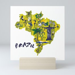 Brazil Map Christ Brazilian Culture Soccer Mural Mini Art Print