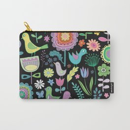 Birds & Blooms - Pastels on Black Carry-All Pouch