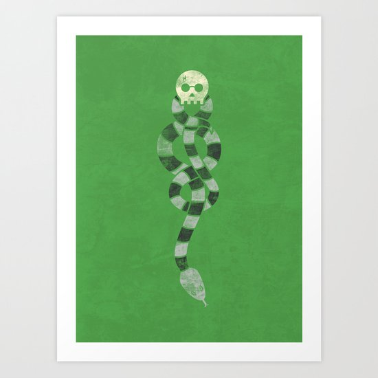 The Scarf Mark - Green and Black Art Print