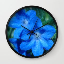 Blue Blooms Wall Clock