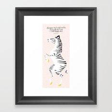 Pink Zebra Right Framed Art Print