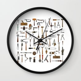 vintage tools collage Wall Clock