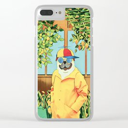 Pug in the garden Clear iPhone Case