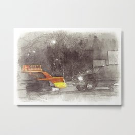 NYC Yellow Cabs Movie - SKETCH Metal Print