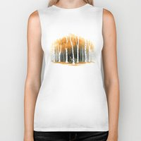 autumn Biker Tanks featuring Autumn Wolf by Freeminds
