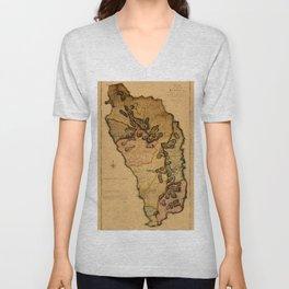 Map Of Dominica 1776 Unisex V-Neck