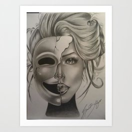The woman behind the mask Art Print