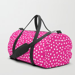 Simply White Dots Polkadots on pink background - Mix & Match Duffle Bag