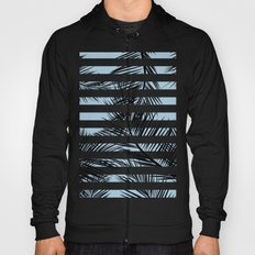 Modern black tropical palm tree leaf blue stripes pattern Hoody