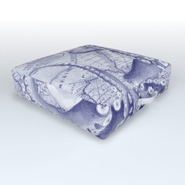 Purple Blue Octopus Compass Nautical Outdoor Floor Cushion