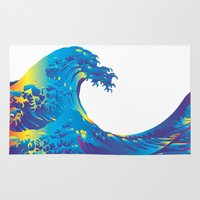 hokusai Area & Throw Rugs featuring Hokusai Rainbow_B by FACTORIE
