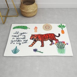 all you need is a secret garden and a big cat Rug