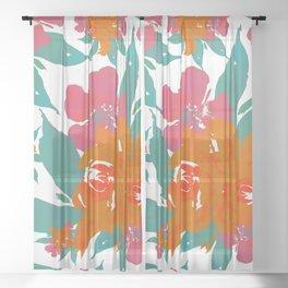 """Vivid Colors Tropical Classic Floral"" Sheer Curtain"