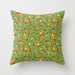 Watercolor seamless hand drawn pattern with red hot chilli peppers.  Throw Pillow