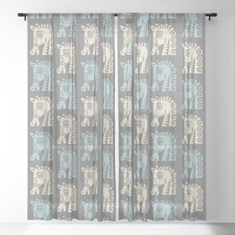 Mid Century Horse Pattern Grey Blue and Beige Sheer Curtain