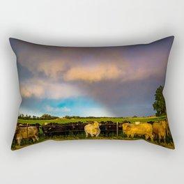 Bovine Shine - Cattle Gather on Stormy Day in Kansas Rectangular Pillow