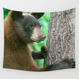 Black Bear in The Woods Wall Tapestry