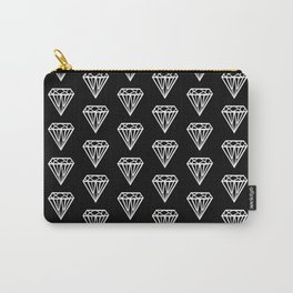 Bijou - geometric gem diamond pattern in black and white Carry-All Pouch