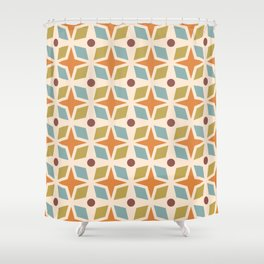 Mid Century Modern Abstract Star Dot Pattern 441 Orange Brown Blue Olive Green Shower Curtain