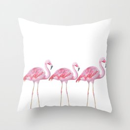 Flamingo - Pink Bird - Animal On White Background Throw Pillow