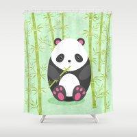 panda Shower Curtains featuring Panda  by eDrawings38