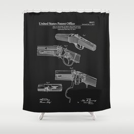 Breech Loading Rifle Patent - Black Shower Curtain