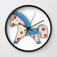 calendar Wall Clocks featuring 2014 horse calendar (europe) by Katja Main