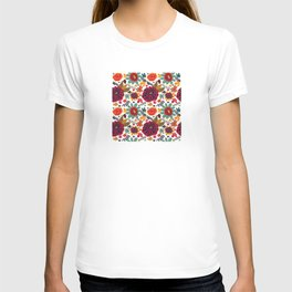 Bright Playful Flowers, white background T-shirt