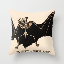 Vintage French zoological board - Bat skeleton Throw Pillow
