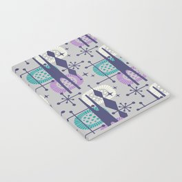 Retro Atomic Mid Century Pattern Grey Teal Blue and Lavender Notebook