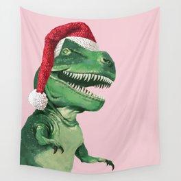 Santa T-Rex in Pink Wall Tapestry