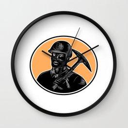 Coal Miner Carry Pick Axe Woodcut  Wall Clock