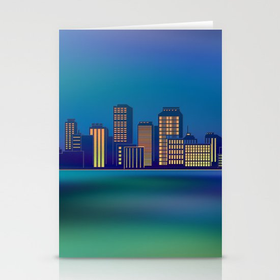 Seaside Cityscape Stationery Cards
