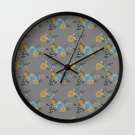 Roses and Billy Buttons - Gray Background - Floral Watercolor Pattern Wall Clock