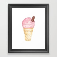 Watercolour Illustrated Ice Cream - Berries on Ice Framed Art Print