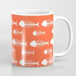 Bright Orange Skeleton Pattern Design Coffee Mug