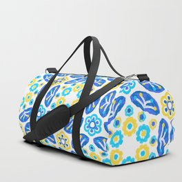 Blue & Yellow Ditsy Daisy Flower Circle,Ocean Turquoise Floral  Circles Duffle Bag